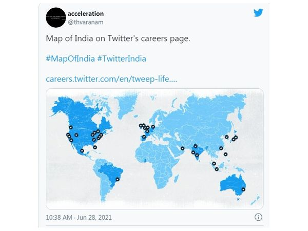 Twitter tampered with the map of India! J&K and Ladakh were shown as separate countries